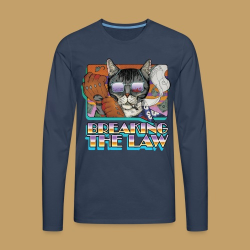Crime Cat in Shades - Braking the Law - Koszulka męska Premium z długim rękawem