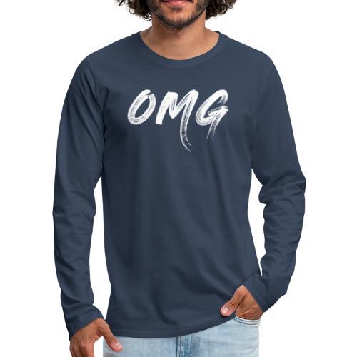 OMG, valkoinen - Miesten premium pitkähihainen t-paita