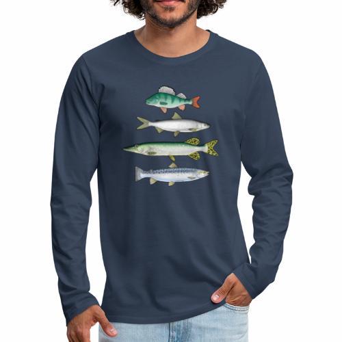 FOUR FISH - Ahven, siika, hauki ja taimen tuotteet - Miesten premium pitkähihainen t-paita