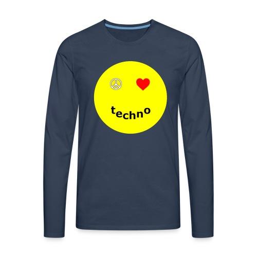 camiseta paz amor techno - Camiseta de manga larga premium hombre