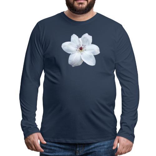 Jalokärhö, valkoinen - Miesten premium pitkähihainen t-paita