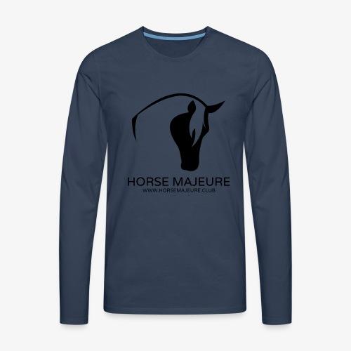 Horse Majeure Logo / Musta - Miesten premium pitkähihainen t-paita