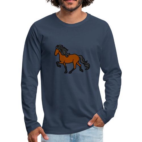 Islandpferd, Brauner, heller - Männer Premium Langarmshirt