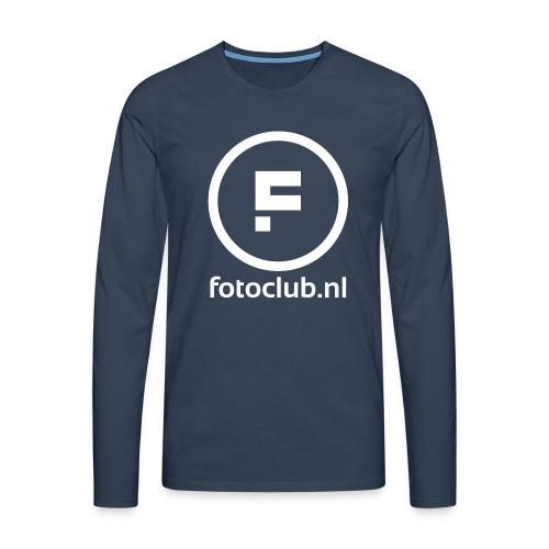 Logo Rond Wit met tekst - Mannen Premium shirt met lange mouwen