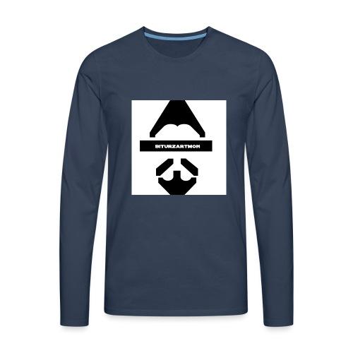 Biturzartmon Logo schwarz/weiss glatt - Männer Premium Langarmshirt