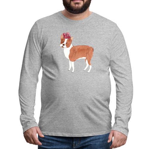 boston terrier with flower - Herre premium T-shirt med lange ærmer