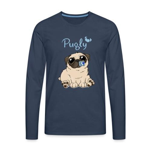 Bobo Pug - Långärmad premium-T-shirt herr