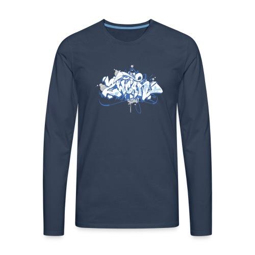 Dae 2Wear graffiti style ver01 blue edt - Herre premium T-shirt med lange ærmer