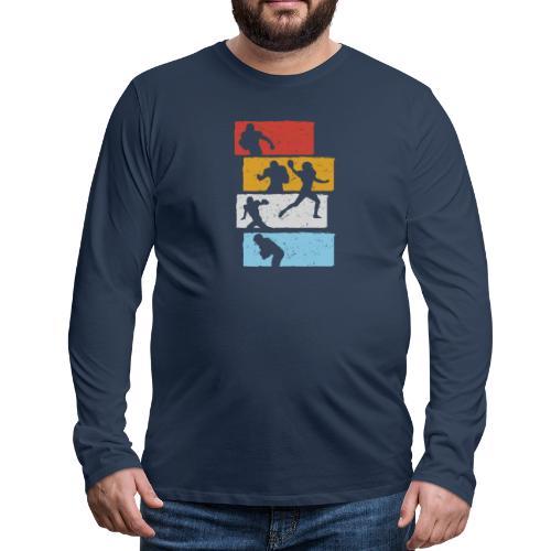 retro streifen football spieler - Männer Premium Langarmshirt