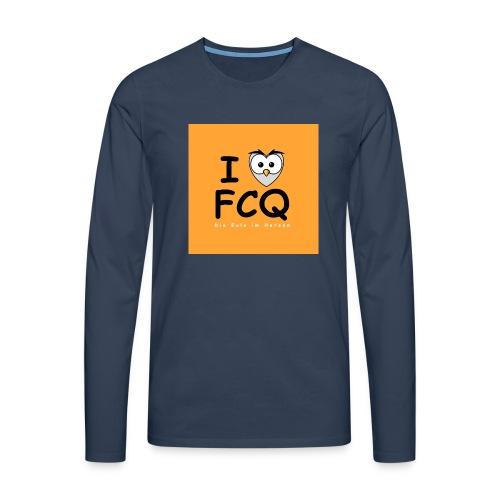 I Love FCQ button orange - Männer Premium Langarmshirt