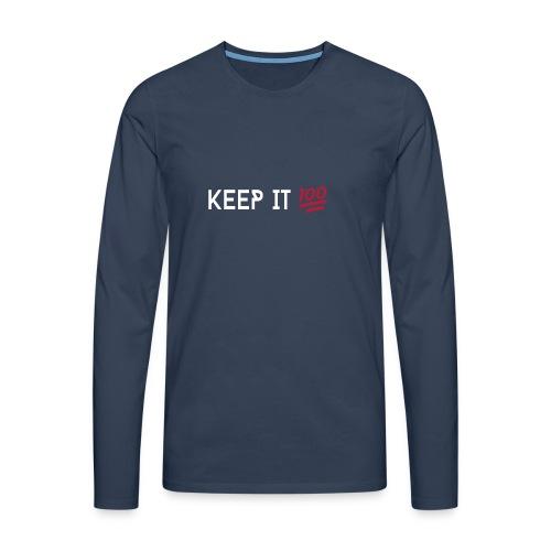 KEEP IT 100 WIT png - Mannen Premium shirt met lange mouwen