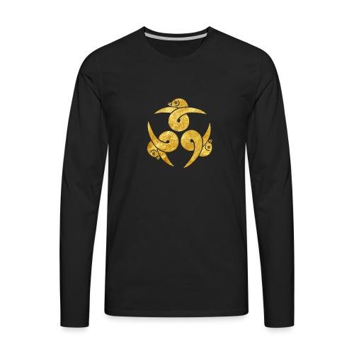 Three Geese Japanese Kamon in gold - Men's Premium Longsleeve Shirt
