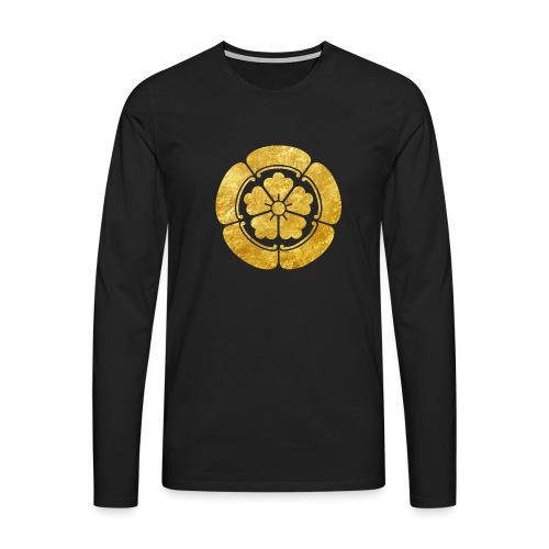 Oda Mon Japanese samurai clan faux gold on black - Men's Premium Longsleeve Shirt