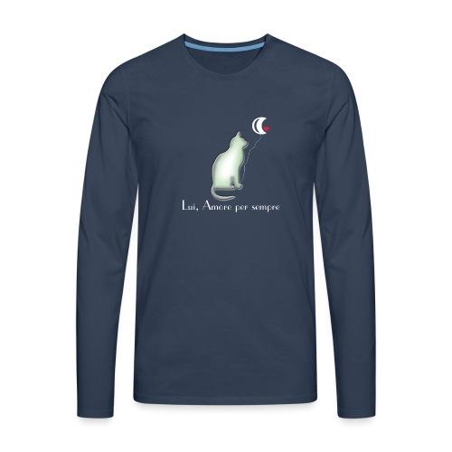 GATTO-E-LUNA - Maglietta Premium a manica lunga da uomo