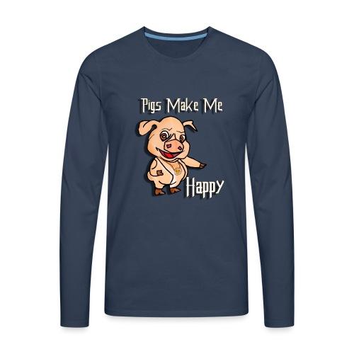 Oh my God pigs maakt mij blij - Mannen Premium shirt met lange mouwen