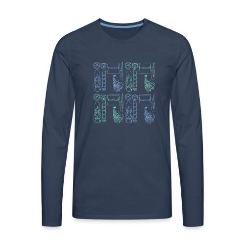 Varusteneliöhuppari - Miesten premium pitkähihainen t-paita