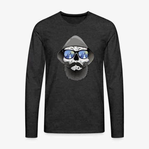 Totenkopf mit sonnenbrille und hut - Männer Premium Langarmshirt