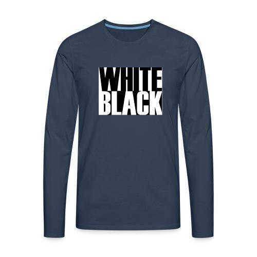 White, Black T-shirt - Mannen Premium shirt met lange mouwen