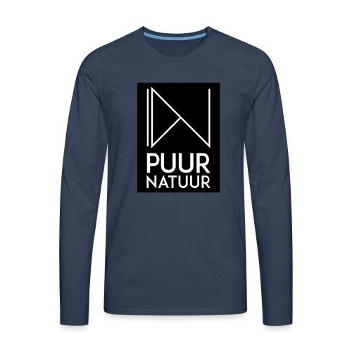 Logo puur natuur negatief - Mannen Premium shirt met lange mouwen