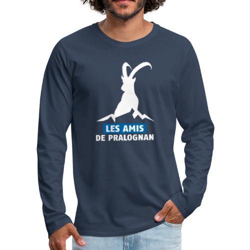 Logo Les Amis de Pralo grand blanc - T-shirt manches longues Premium Homme