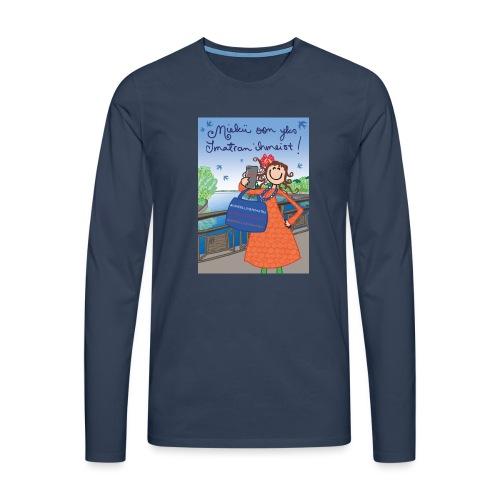 Miekii oon yks Imatran Ihmeist kangaskassi - Miesten premium pitkähihainen t-paita