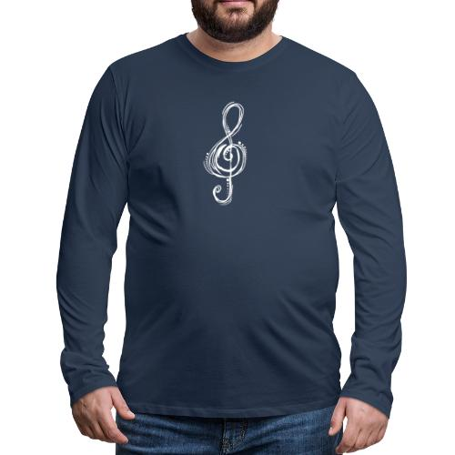 Violinschlüssel weiß - Männer Premium Langarmshirt