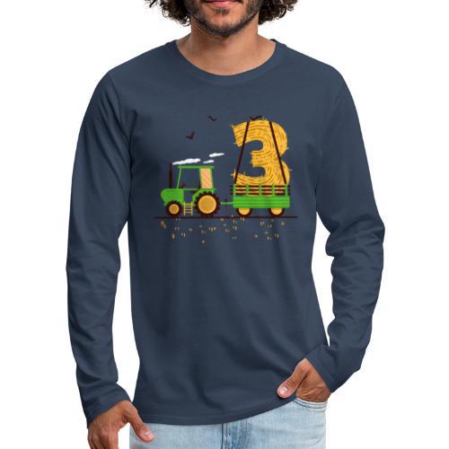 Traktor mit Anhänger 3. Geburtstag Geschenk Drei - Männer Premium Langarmshirt