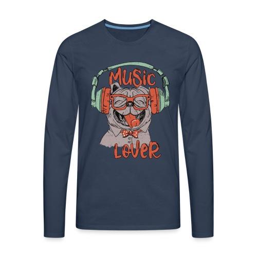 Music Lover - Happy Mops Hundekopf Vintage style - Männer Premium Langarmshirt