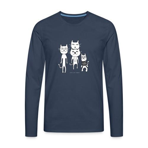 funny_cats_3100x3100_300R - Miesten premium pitkähihainen t-paita