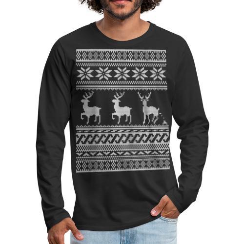 Ugly Christmas Sweater Rentier Muster (lustig) - Männer Premium Langarmshirt