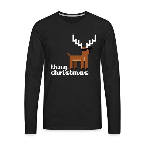 Christmas Xmas Deer Pixel Funny - Men's Premium Longsleeve Shirt