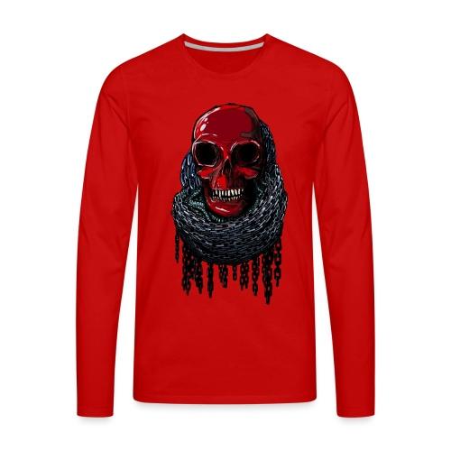 RED Skull in Chains - Men's Premium Longsleeve Shirt