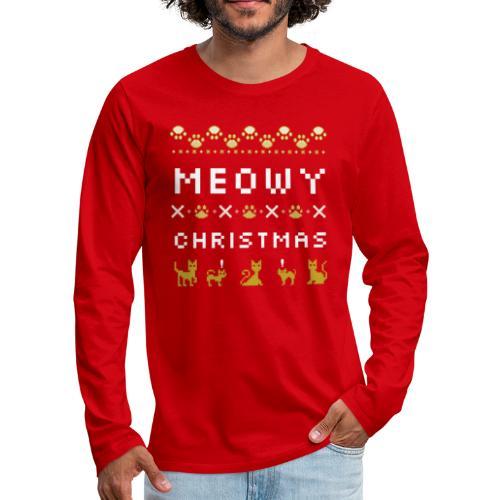 meowy christmas - Premium langermet T-skjorte for menn