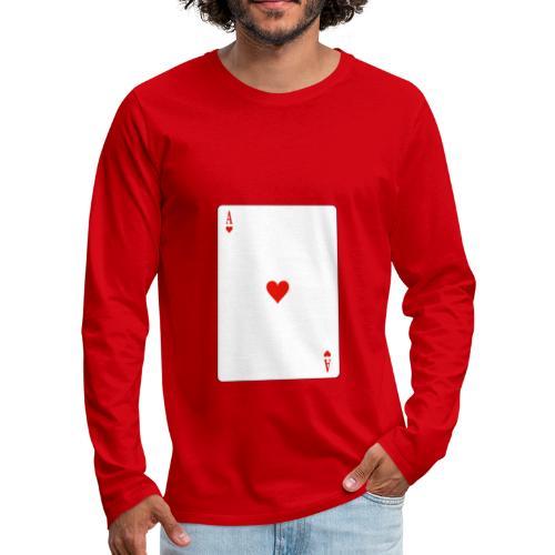 Asso di Cuori - Maglietta Premium a manica lunga da uomo