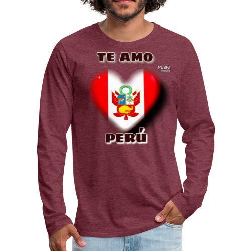 Te Amo Peru Corazon - T-shirt manches longues Premium Homme