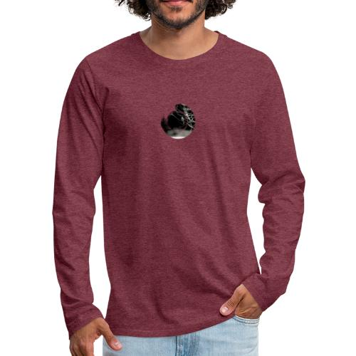Bird on branches in zen circle, Japanese style - Men's Premium Longsleeve Shirt