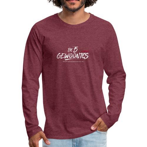 Logo5gewoontes wit transparant - Mannen Premium shirt met lange mouwen
