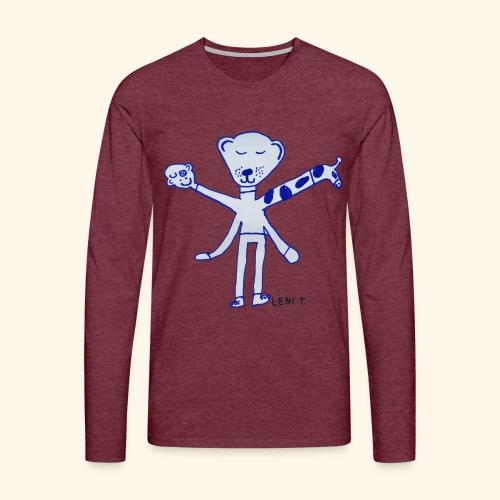 LeniT Teddy With a Twist - Miesten premium pitkähihainen t-paita