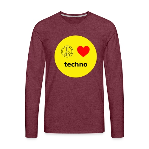 paz amor techno - Camiseta de manga larga premium hombre