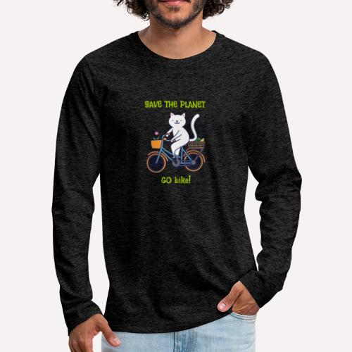 Caring About Climate? Save The Planet Go Bike! - Men's Premium Longsleeve Shirt