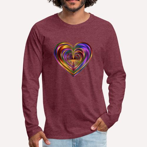 Colorful Love Heart Print T-shirts And Apparel - Men's Premium Longsleeve Shirt