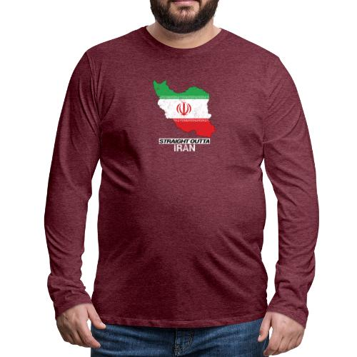 Straight Outta Iran country map & flag - Men's Premium Longsleeve Shirt