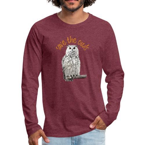Snowy Owl Save the Owls Photo Art - Men's Premium Longsleeve Shirt