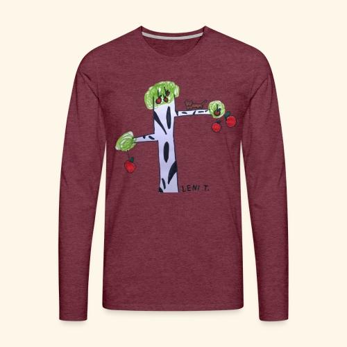LeniT Cat in a Tree - Miesten premium pitkähihainen t-paita