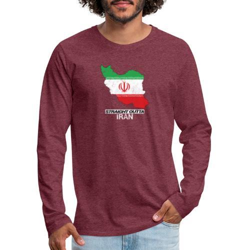 Straight Outta Iran country map & flag - Men's Premium Longsleeve Shirt