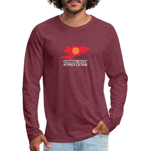 Straight Outta Kyrgyzstan country map - Men's Premium Longsleeve Shirt