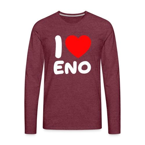 I love Eno / valkoinen - Miesten premium pitkähihainen t-paita