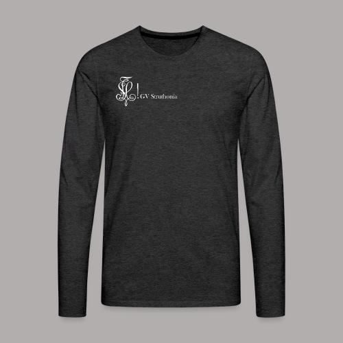 Zirkel mit Name, weiss (vorne) - Männer Premium Langarmshirt