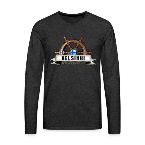 Helsinki Ruori - Merelliset tekstiilit ja lahjat - Miesten premium pitkähihainen t-paita