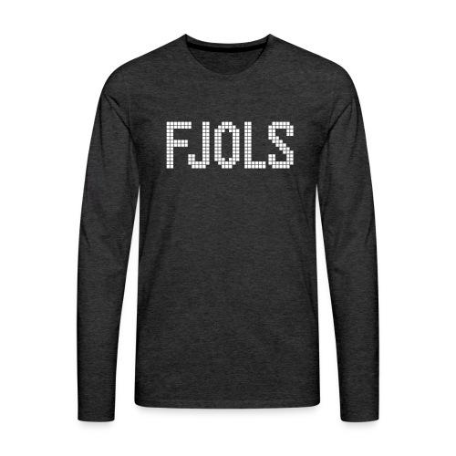 FJOLS med hvid tekst - Herre premium T-shirt med lange ærmer